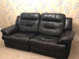 Black DFS Electric recliner 3 seater Sofa & Swivel Chair with footstool