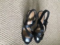 Clarks black leather sandals, not used, with box, size 4 wide fit