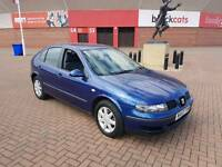 2003 SEAT LEON 1.4 S IN DARK METALIC BLUE WITH OCTOBER M.O.T,
