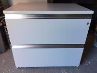 Large Solid Grey Two Drawer Filing Cabinet