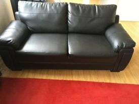 two 3 seater black leather sofas, in excellent condition