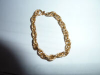 18ct Italian Yellow Gold ladies/kids/childrens Fancy Link Belcher Bracelet 6.5 inches
