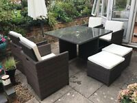 9 piece rattan cube garden set with cushions