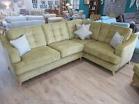 Elegant mustard 2c1 corner sofa. Matching armchair also available in other listings.