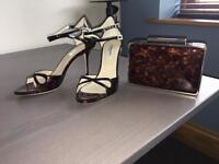 LK Bennett sandals and matching clutch