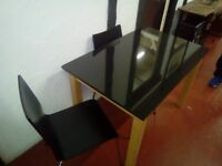 Black marble top table with 2 matching chairs