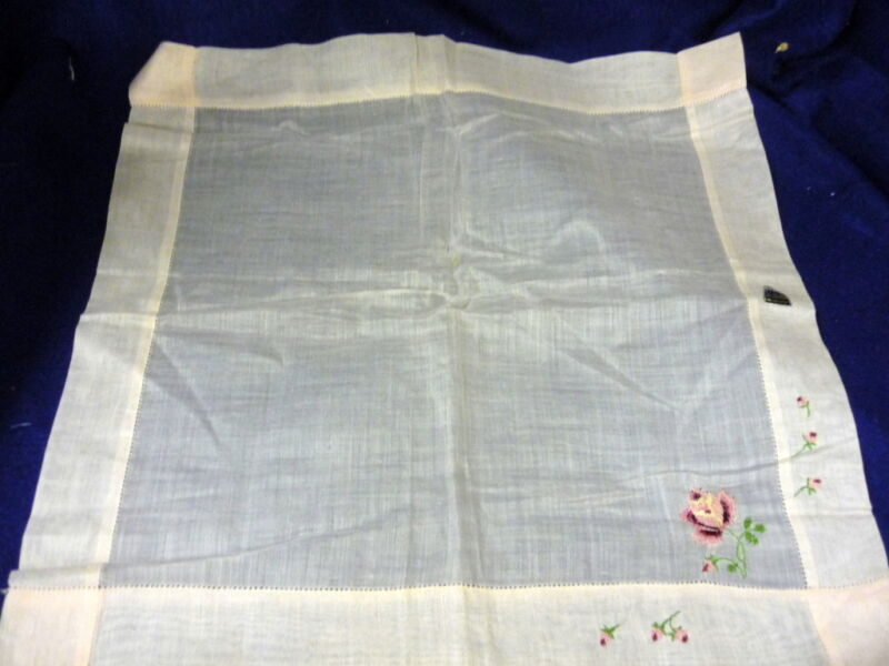 NWT VINTAGE PINK EMBROIDERED HEMSTITCHED HANDKERCHIEF HERMANN 14""