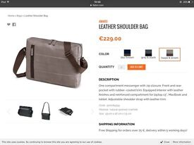 Leather, messenger shoulder-bag with reinforced compartment for MacBook or Tablet.