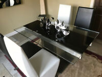 Black White Dining Table Four Chairs From Feblands