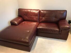 Burgundy Chez long LHS Faux Leather Couch