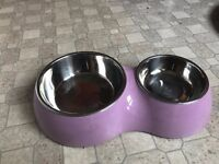 3 bowls for cat or dog and a pet collar for 5 GBP