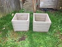 Pair of wooden plant pots