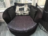 Sofology Napier Swivel Cuddler Chair - Tower Mix Charcoal - £95 - Killamarsh S21