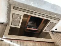 Italian Marble Fireplace with bronze/rose gold detail