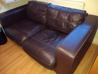 Large 3 seater, 2 Seater, footstall Leather Brown