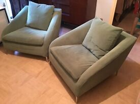 Vintage Pair of Light Green Suede Accent Chairs
