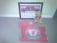 Liverpool double duvet cover, pillowcase, signed framed print, and soft plush teddy bear