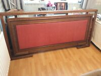 Elegant King Sized Oak Headboard With Cardinal Red Padding