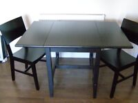 IKEA solid wood extendable table [black] + 2 free IKEA chairs