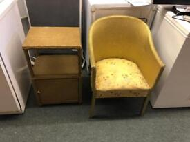 Beside cabinet and chair