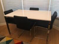 WHITE GLOSS TABLE + 4 CHAIRS