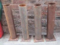 4x Steel Tubes for shed / fence/ decking foundations £12
