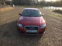 2007 07 AUDI A4 2.0 TDI S LINE 6 SPEED MANUAL SAT/NAV-LEATHER, **MUST GO TODAY** £3550.00
