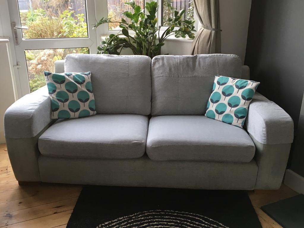 Sofa 3 Seater Duck Egg Blue Modern Washable Cushions In