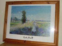Large Monet Print & Pine Frame