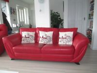 DFS red Italian real Leather sofa - 3 seater + 2 seater + 1 seater with power recliner.