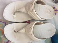 Ladies white fit flops