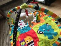Bright Starts Baby Activity Play Mat with Musical Hanging Tiger & other Toys