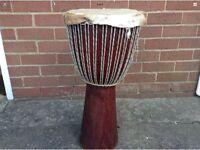 Large African Wooden Tribal Djembe Congo Drum - Ethnic Drum