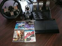 Playstation 3 with Logitech G27 wheel, Pedals & Gearshift & 3 Games