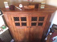 sheesham solid wood indian jali corner cabinet unit antique oak look - COST £1000 quality piece