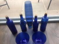 Vintage blue glass bottles
