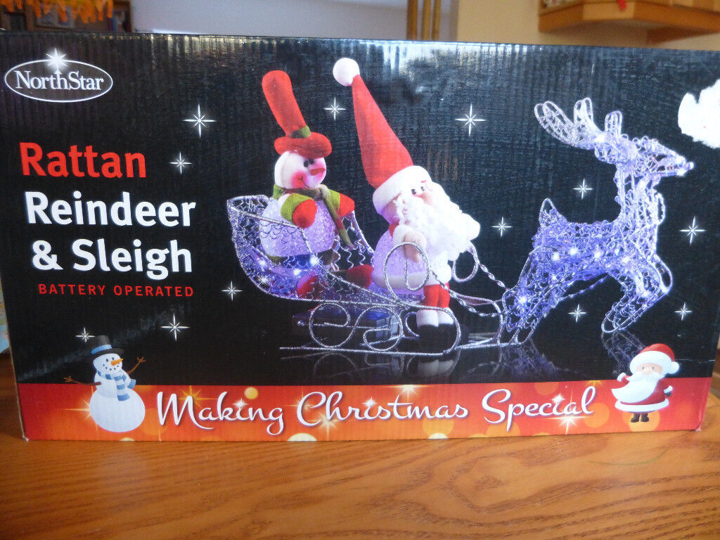rattan reindeer sleigh battery operated christmas window decorations - Battery Operated Christmas Window Decorations