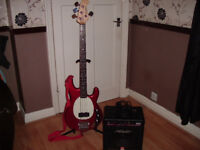 Ventura Bass guitar musicman sterling style with peavey amp