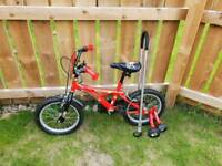 14in Pirate Kids Bike with safety bar and Stabilisers