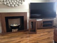 Next Living Room Furniture Walnt TV Unit, Walnut Electric Fire and Surround