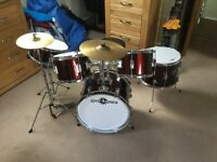 5 Piece Junior Drum Kit - wine red, 5 drums, symbols, high hat and seat