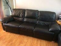 3 Seat Black Leather Recliner Sofa
