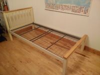 Single bed frame - cream and beech colour - metal slats