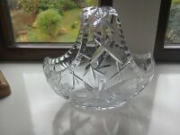 Cut glass boat bowl