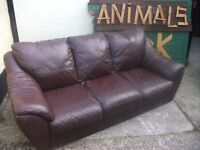 Brown 3 Seat Leather Sofa Delivery Available £15