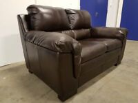 DFS THORPE MAHOGANY / BROWN LEATHER 2 SEATER SOFA / SETTEE DELIVERY AVAILABLE