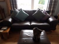2 brown leather sofas and footstool for sale