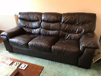 DFS dark brown leather 3 seater sofa, double sofa with pullout bed & storage footstool set - REDUCED