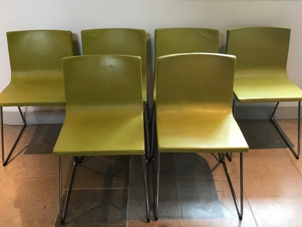 6 Ikea Bernhard Leather Dining Chairs In Lime Green