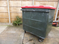 Wheelie bin, used, metal with plastic lid, 1100L capacity, locking wheels for stability, vgc £65